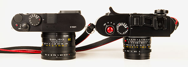Leica Q - compared to M9, top