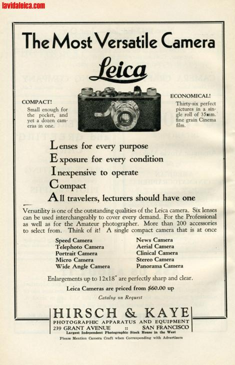 Vintage Leica Ad (English, 1932)