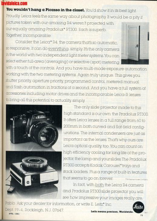 Vintage Leica Ad (English, 1981)