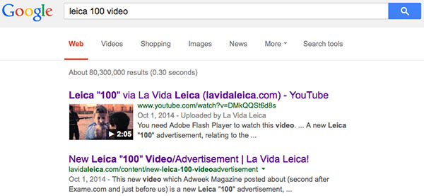 La Vida Leica leads Google results in Leica 100 video